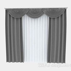 灰色家居窗帘3d模型下载