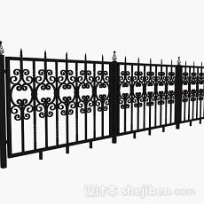 黑色铁艺栏杆3d模型下载