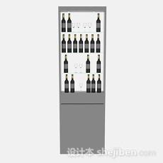 灰色酒柜3d模型下载