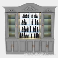 灰色木质酒柜3d模型下载