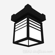 黑色吸顶灯3d模型下载