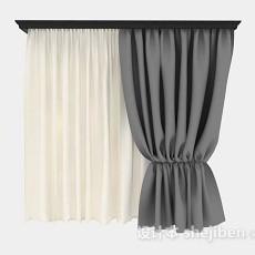 家居简约灰色双层窗帘3d模型下载