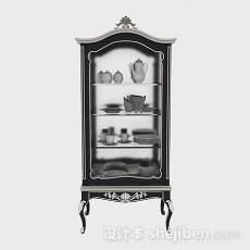 欧式黑色橱柜3d模型下载