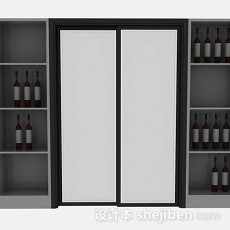 灰色家居酒柜3d模型下载