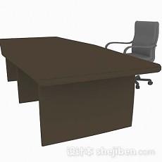 棕色办公桌椅3d模型下载