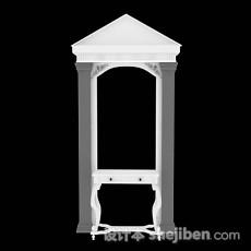 白色梳妆桌3d模型下载