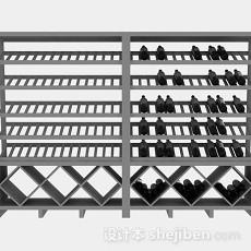 灰色酒柜架3d模型下载