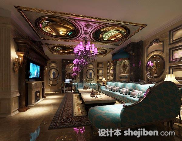 欧式复古客厅3d模型
