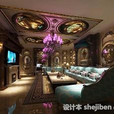 欧式复古客厅3d模型下载