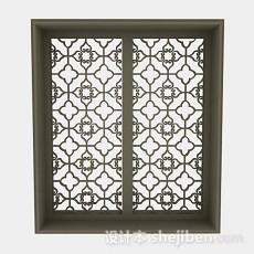 中式棕色木质窗3d模型下载