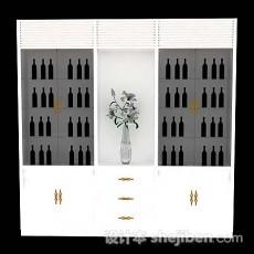 白色酒柜3d模型下载