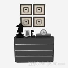 灰色厅柜3d模型下载