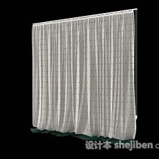 白色家居简单窗帘3d模型下载