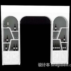 白色家居酒柜3d模型下载