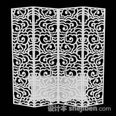 中式白色木质屏风隔断3d模型下载