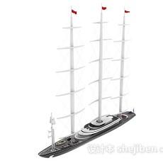 白色帆船3d模型下载