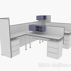 白色简约办公桌3d模型下载