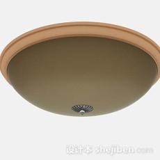 棕色家居圆形吸顶灯3d模型下载