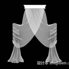 白色纱质窗帘3d模型下载