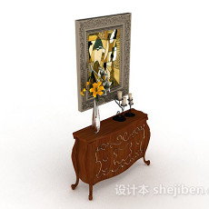 欧式木质装饰厅柜3d模型下载