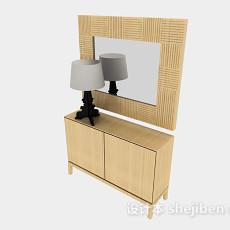 黄色木质梳妆台3d模型下载