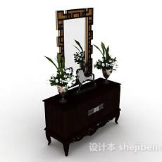 欧式木质棕色梳妆台3d模型下载