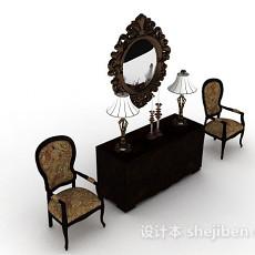 欧式木质棕色桌椅组合3d模型下载