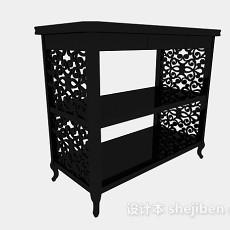 新中式黑色雕花展示柜架3d模型下载