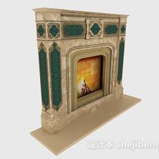 欧式复古壁炉3d模型下载