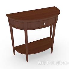 木质棕色半圆形梳妆台3d模型下载