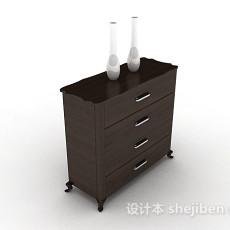 深棕色木质装饰厅柜3d模型下载