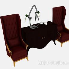 欧式红色木质桌椅3d模型下载