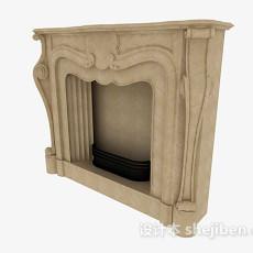 棕色石壁炉3d模型下载
