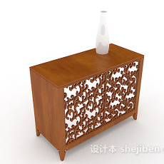 中式木质雕花厅柜3d模型下载