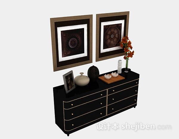 黑色木质装饰厅柜