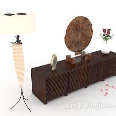 新中式木质装饰厅柜3d模型下载