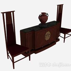 中式木质桌椅组合3d模型下载