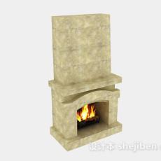 棕色简约石壁炉3d模型下载