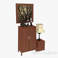 木质装饰厅柜3d模型下载