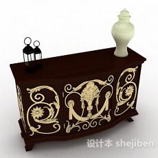 家居木质棕色厅柜3d模型下载