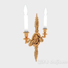 欧式黄色烛台壁灯3d模型下载