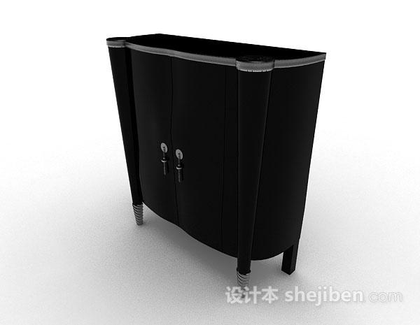 黑色木质简约玄关柜