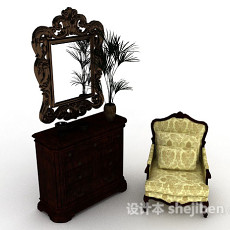 欧式装饰厅柜3d模型下载