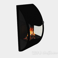 黑色简约壁炉3d模型下载