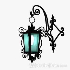 黑色铁艺庭院灯3d模型下载
