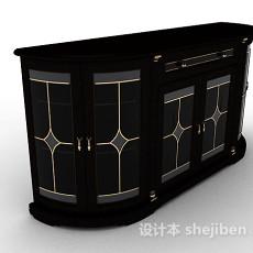 黑色厅柜3d模型下载