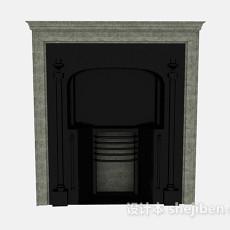 黑色壁炉3d模型下载