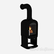 黑色小壁炉3d模型下载