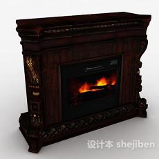 棕色壁炉3d模型下载