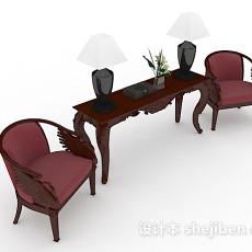 红色木质家居椅子3d模型下载